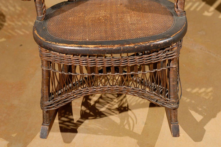 19th Century Small Wicker Rocker from England For Sale 4