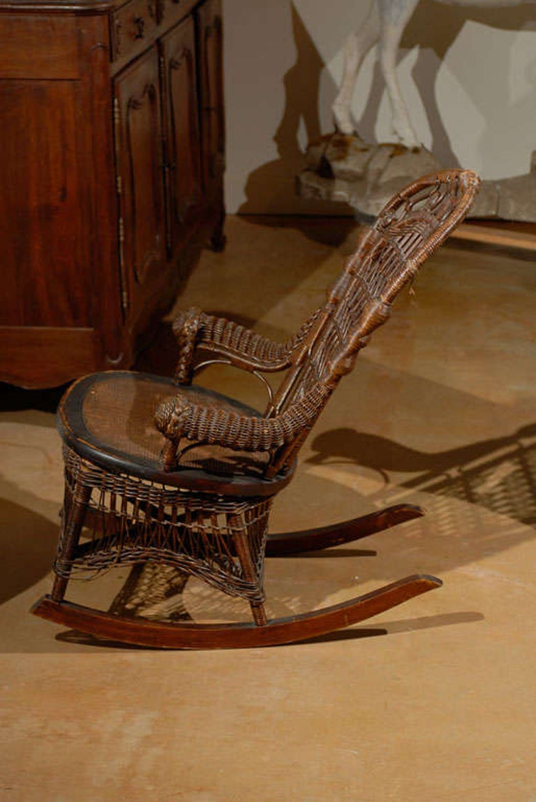 19th Century Small Wicker Rocker from England For Sale 5