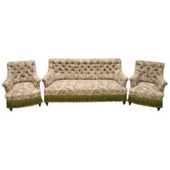 19th Century Sofa and Two Armchairs Napoleon III French Gobelin Coating