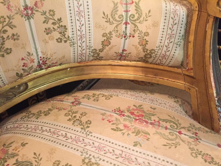 19th Century Sofa in Louis XVI Style, Solid Beechwood Poliment Gilded For Sale 5