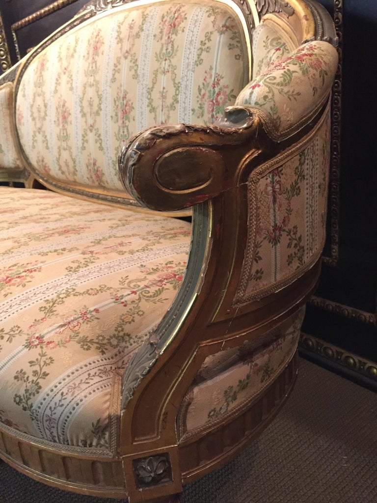 19th Century Sofa in Louis XVI Style, Solid Beechwood Poliment Gilded For Sale 7