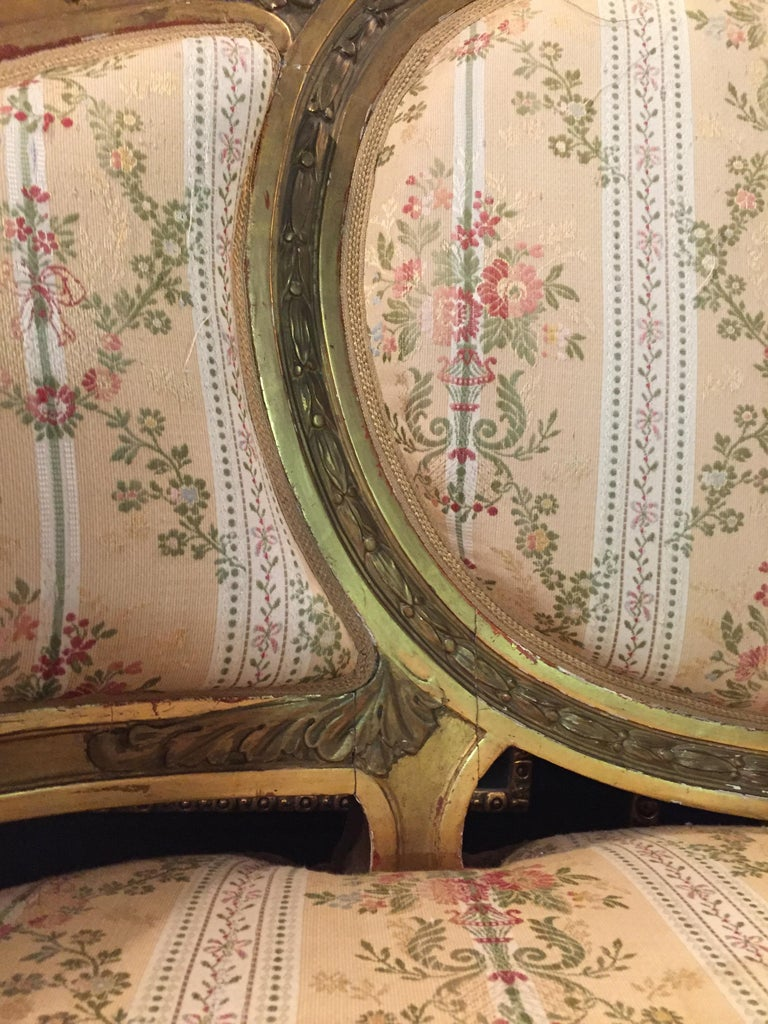 19th Century Sofa in Louis XVI Style, Solid Beechwood Poliment Gilded For Sale 9