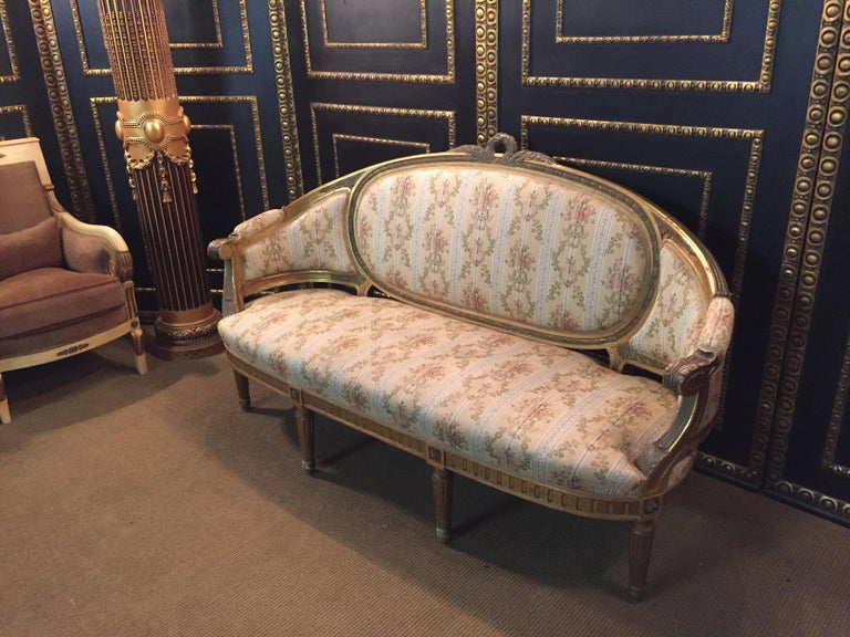 19th Century Sofa in Louis XVI Style, Solid Beechwood Poliment Gilded In Good Condition For Sale In Berlin, DE