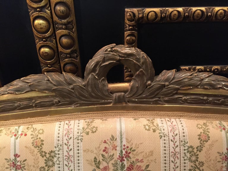 19th Century Sofa in Louis XVI Style, Solid Beechwood Poliment Gilded For Sale 3