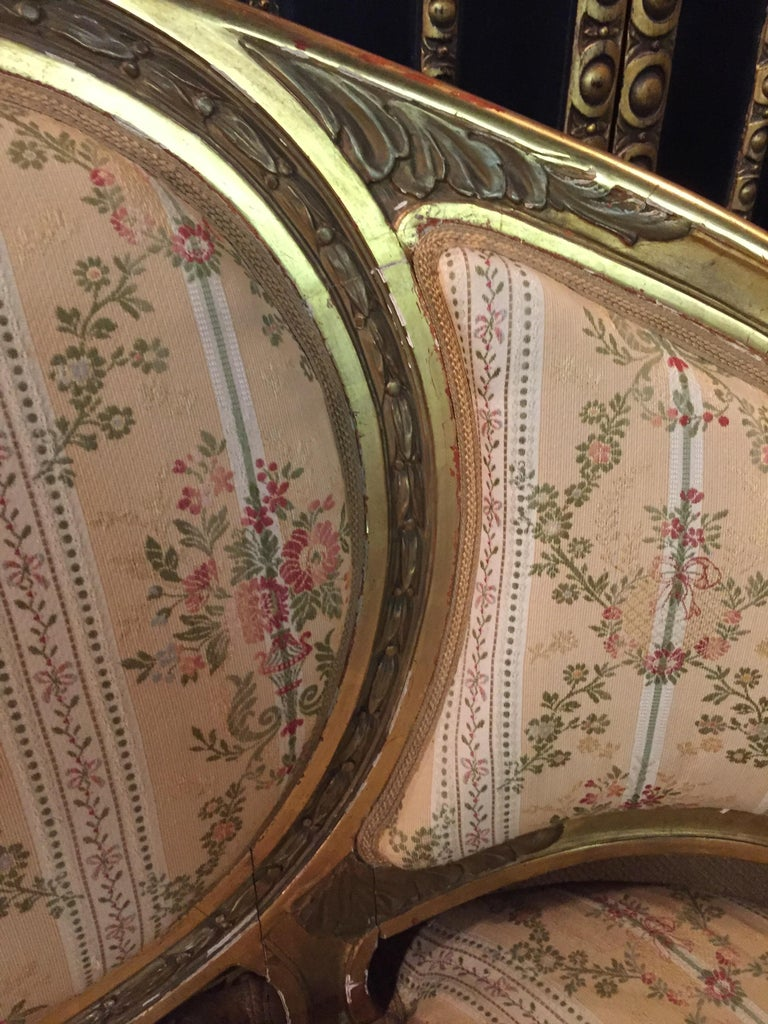 19th Century Sofa in Louis XVI Style, Solid Beechwood Poliment Gilded For Sale 4