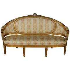 19th Century Sofa in Louis XVI Style, Solid Beechwood Poliment Gilded