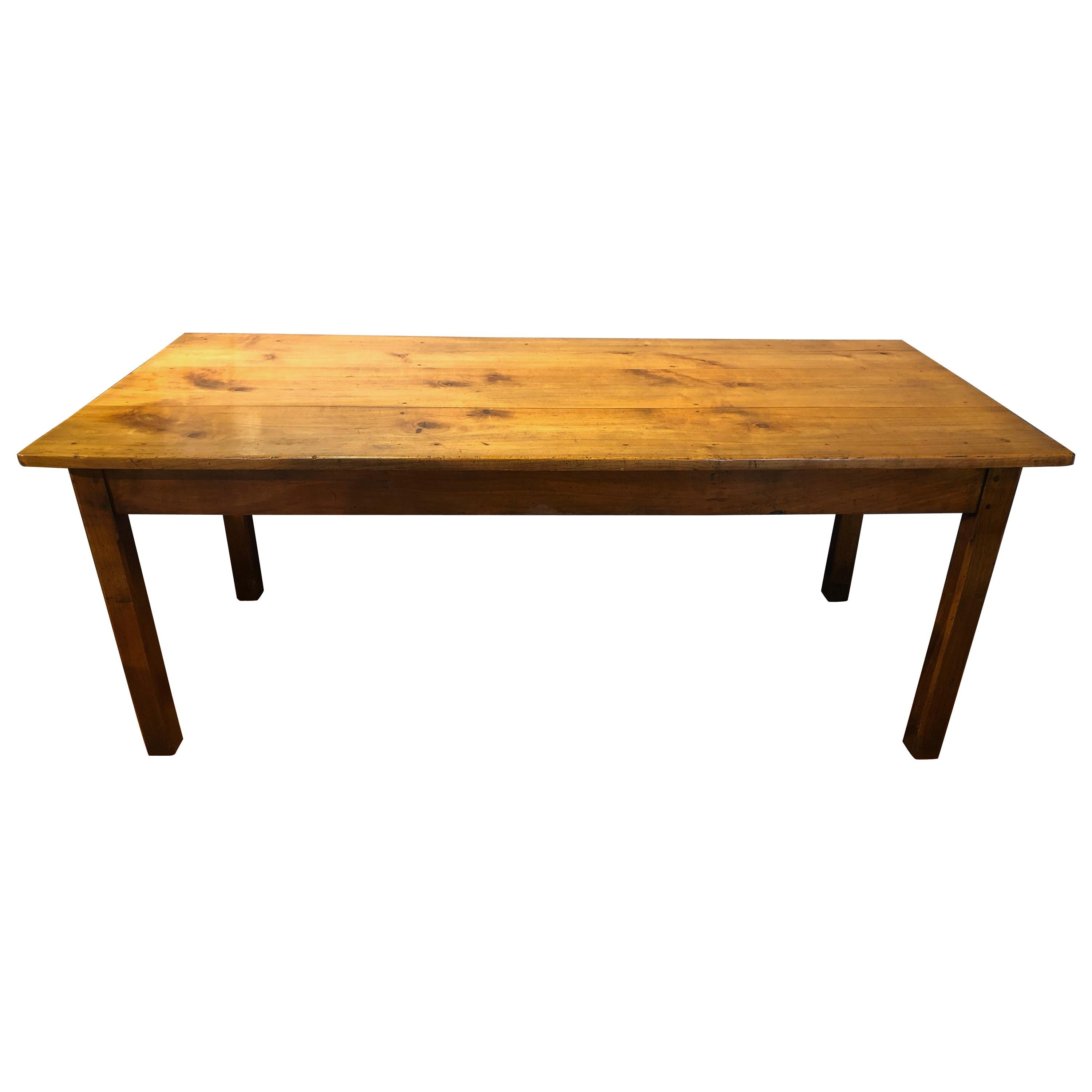 19th Century Solid Cherrywood Dining Table