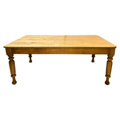 19th Century Solid Maple Farm or Dining Center Table by Leonards, New England