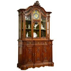19th Century Solid Oak Rococo Style Cupboard with H Bury A Paris Clock