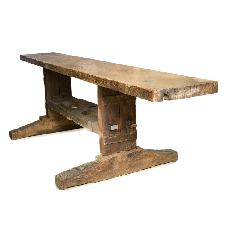 Primitive 19th Century Solid Oak Work Bench For Sale
