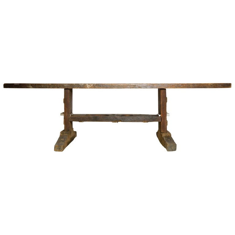 19th Century Solid Oak Work Bench For Sale