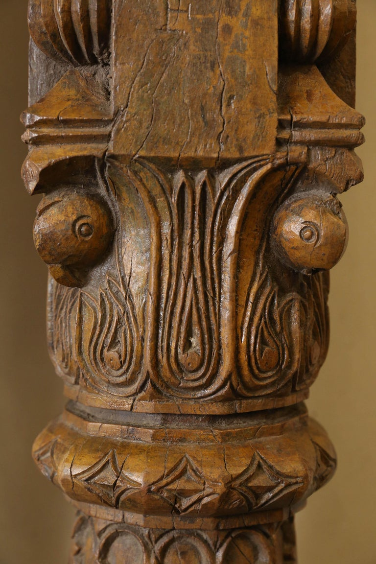 Indian 19th Century Solid Teak Wood Indoor Shaped Columns from Chettinad in South India For Sale