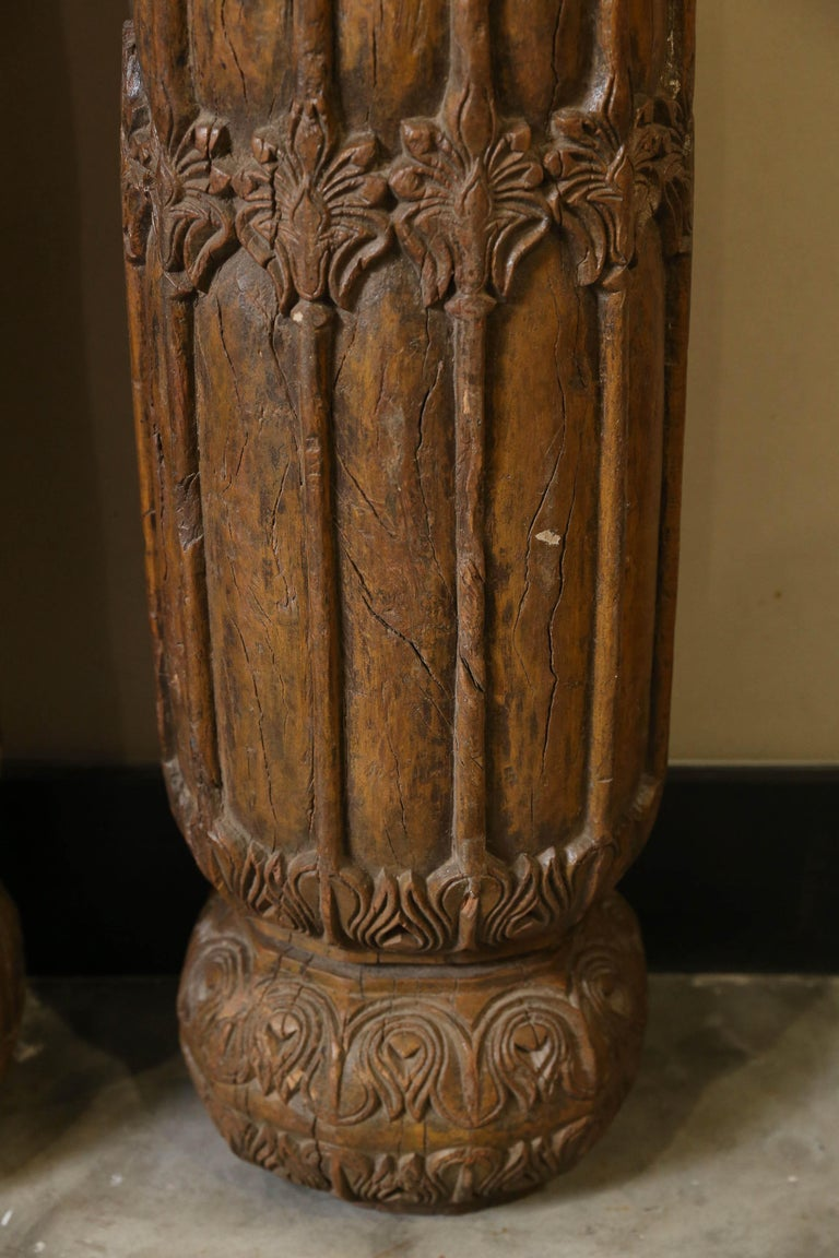 19th Century Solid Teak Wood Indoor Shaped Columns from Chettinad in South India In Good Condition For Sale In Houston, TX