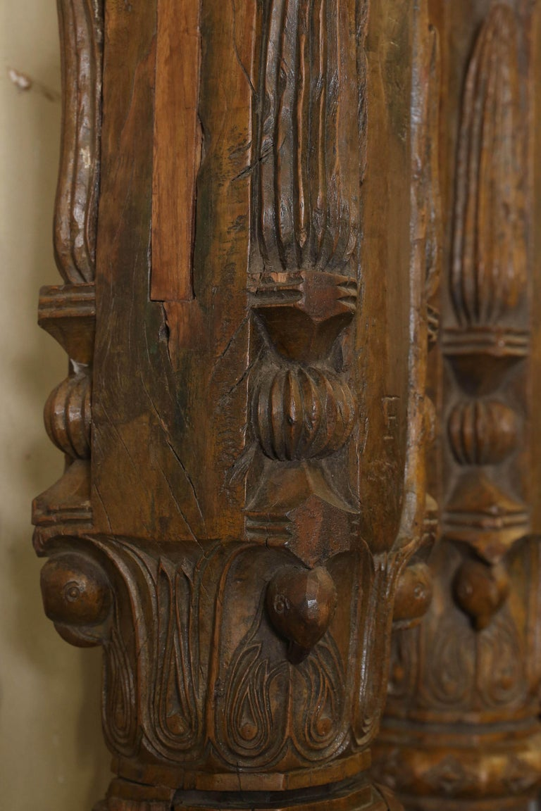 19th Century Solid Teak Wood Indoor Shaped Columns from Chettinad in South India For Sale 2
