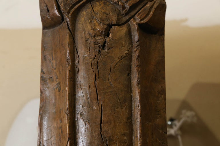19th Century Solid Teak Wood Indoor Shaped Columns from Chettinad in South India For Sale 3