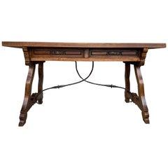 19th Century Solid Walnut Baroque Lyre-Leg Trestle Refectory Desk Writing Table