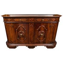 19th Century, Solid Walnut, Paneled, Tuscan Buffet