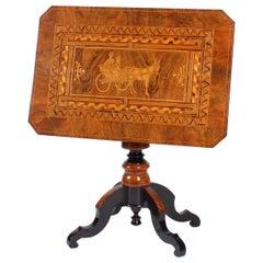 19th Century Sorrento Side Table, Walnut, Marquetry, Inlay, Tavolo da Salotto