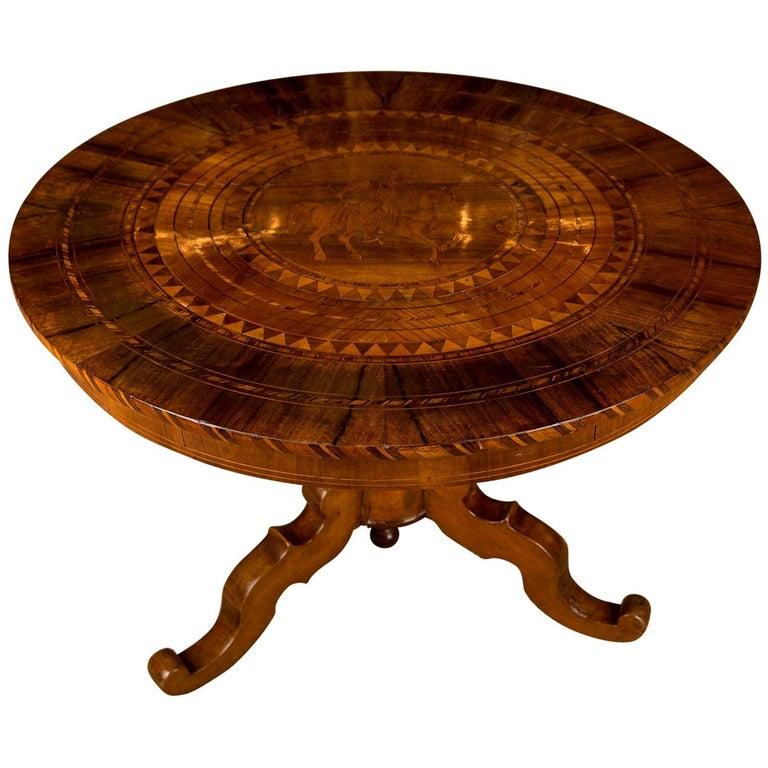 19th Century, South German Biedermeier Marquetry Table Walnut Root Veneer For Sale