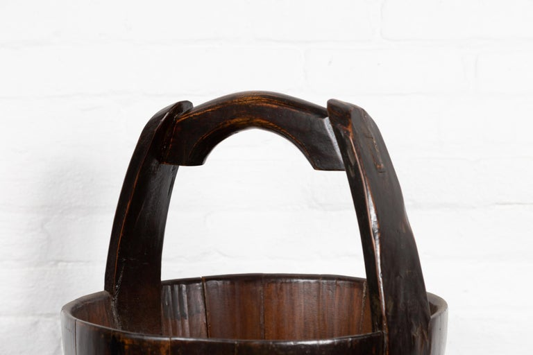 19th Century Southern Chinese Wooden Bucket with Large Handle and Metal Accents In Good Condition For Sale In Yonkers, NY