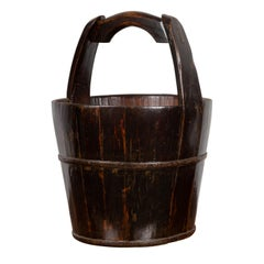 19th Century Southern Chinese Wooden Bucket with Large Handle and Metal Accents