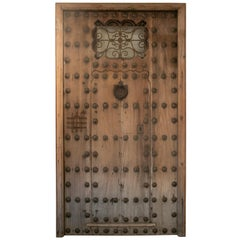 19th Century Spanish Andalusian Iron Studded Main Door w/ Frame