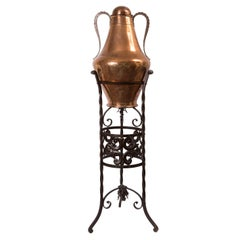 19th Century Spanish Arab Style Copper Two-Handled Jug with Wrought Iron Stand