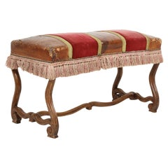 19th Century Spanish Backless Leather and Velvet Louis XIV Style Bench