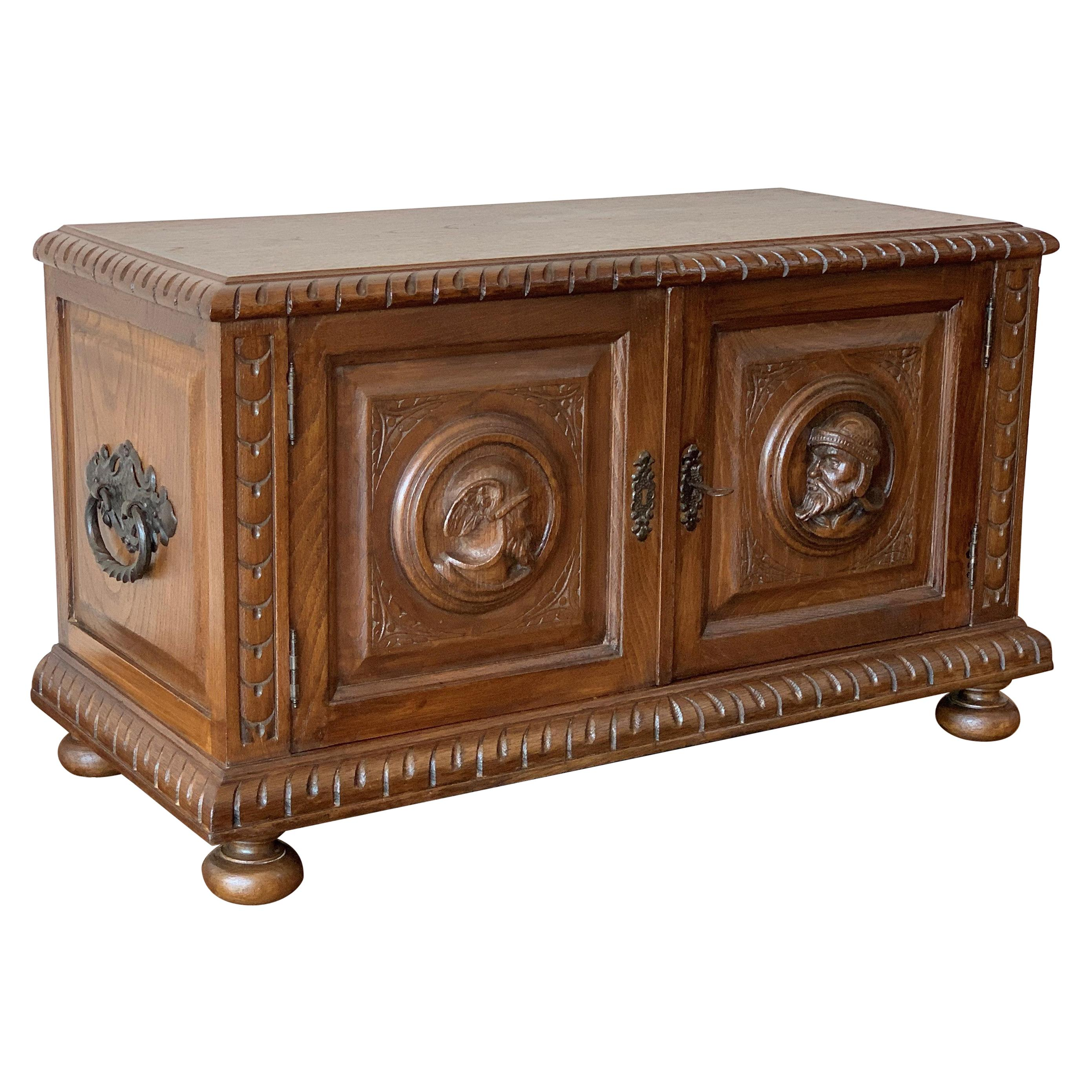 19th Century Spanish Baroque Hand Carved Chest Trunk