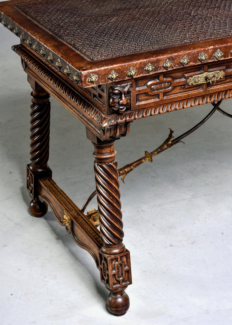 19th Century Spanish Baroque Leather Topped Writing or Library Table 6