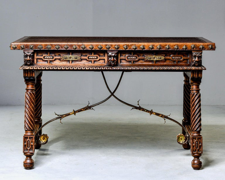 Hand-Carved 19th Century Spanish Baroque Leather Topped Writing or Library Table