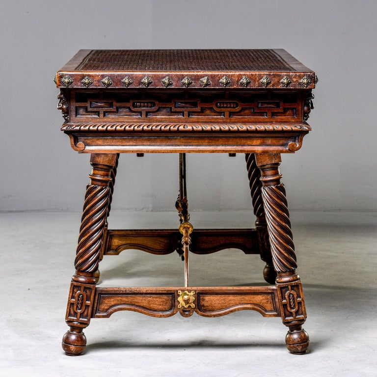 19th Century Spanish Baroque Leather Topped Writing or Library Table In Good Condition In Troy, MI