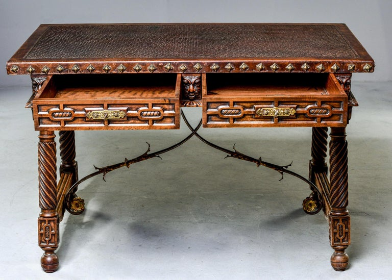 Iron 19th Century Spanish Baroque Leather Topped Writing or Library Table