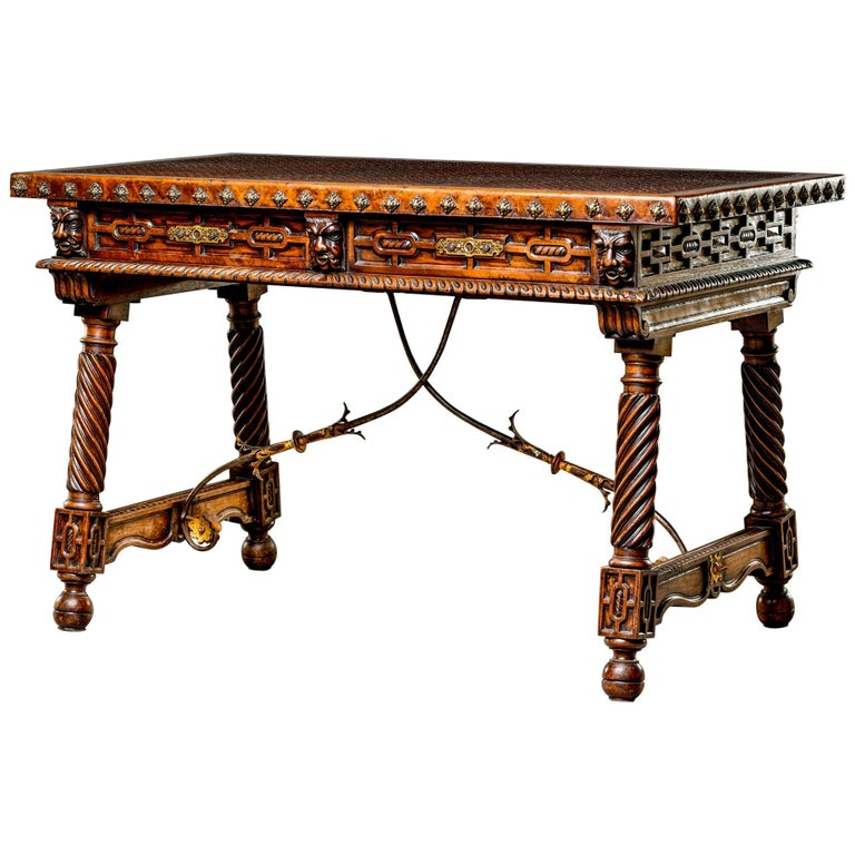 19th Century Spanish Baroque Leather Topped Writing or Library Table