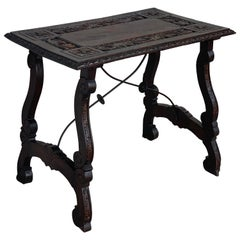 19th Century Spanish Baroque Side Table with Carved Top & Legs & Iron Stretchers