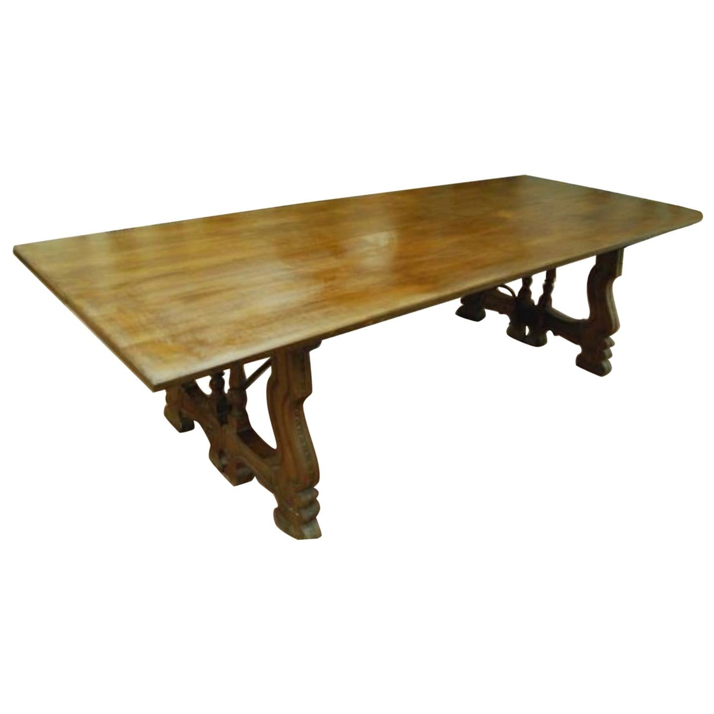 19th Century Spanish Baroque Style Walnut Folding Trestle Dining Farm Table