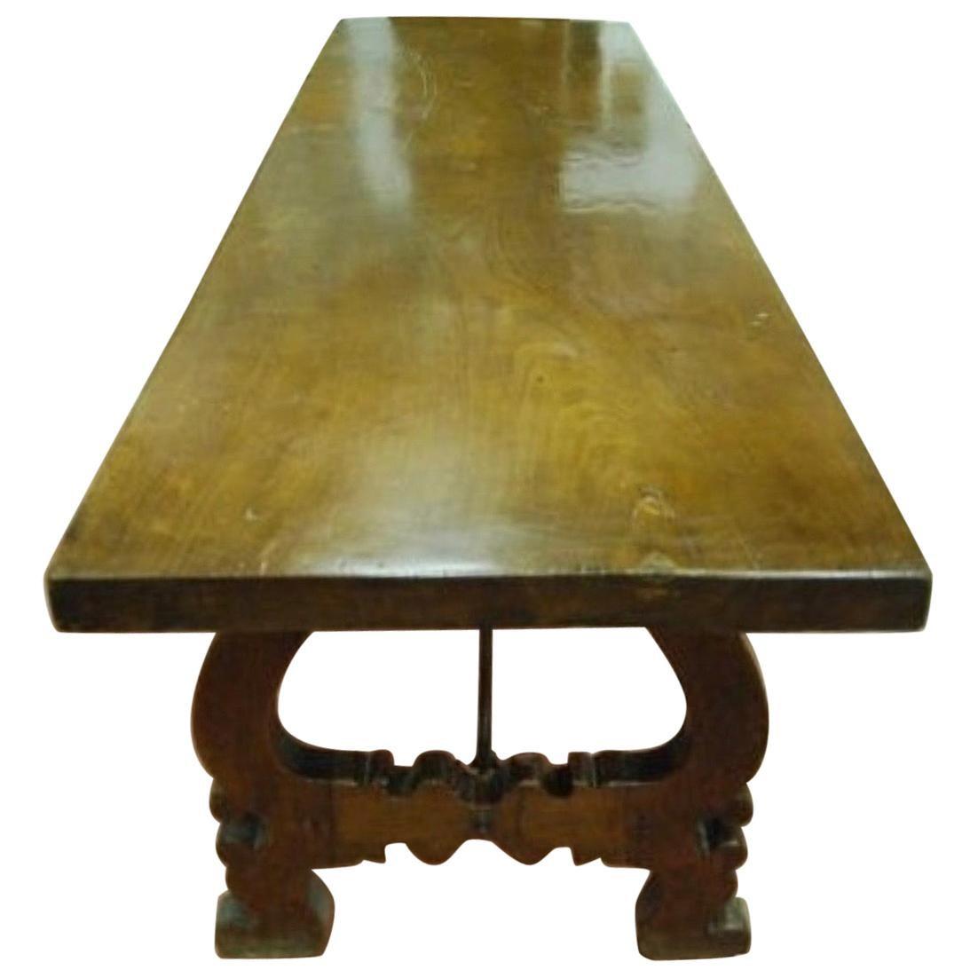 19th Century Spanish Baroque Style Walnut Lyre legs Trestle Dining Farm Table