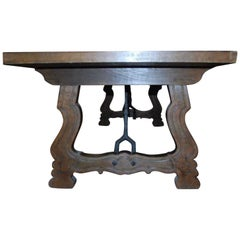 19th Century Spanish Baroque Style Walnut Lyre Legs Trestle Dining Farm Table