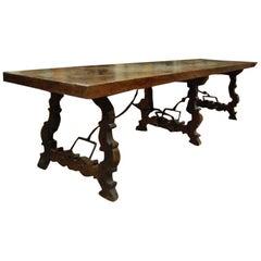 19th Century Spanish Baroque Style Walnut Trestle Dining Farm Table