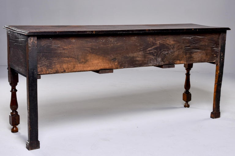 19th Century Spanish Baroque Walnut Table with Three Drawers For Sale 8