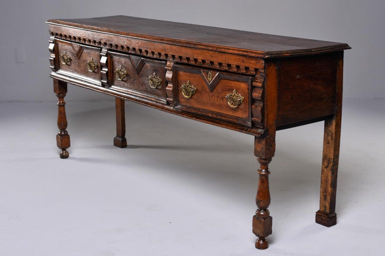 19th Century Spanish Baroque Walnut Table with Three Drawers For Sale 11