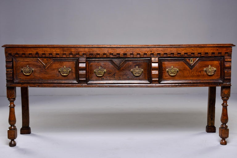19th Century Spanish Baroque Walnut Table with Three Drawers In Good Condition For Sale In Troy, MI