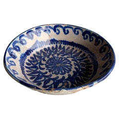 19th Century Spanish Blue and White Pattern Bowl with Original Staples