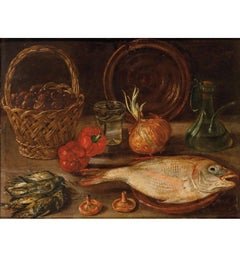 19th Century Spanish Bodegon with Fish and Alcora Ceramic Oil on Carton