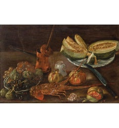 19th Century Spanish Bodegon with Lobster and Melon Still Life Oil on Carton