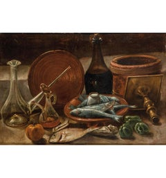 19th Century Spanish Bodegon with Wine and Sardines Still Life Oil on Carton