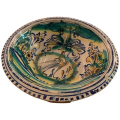 19th Century Spanish Bowl from Andalusia with Bird Motif in Green, Blue, Yellow