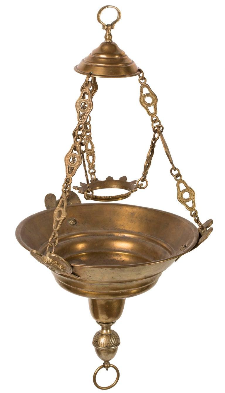 19th Century Spanish Brass Hanging Church Sanctuary Lamp
