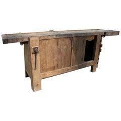 19th Century Spanish Carpenters Workbench Table w/ Iron Hardware