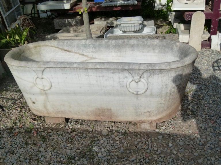 Hand-Carved 19th Century Spanish Carrara Marble Bath For Sale
